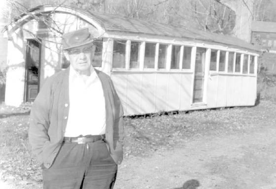 John Dilego with his former diner in his yard in Cheshire, Mass, courtesy of North Adams Transcript
