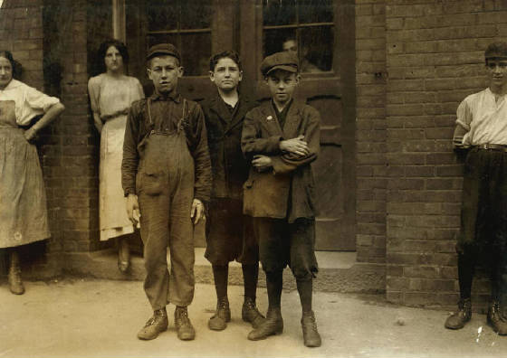 Idas Joseph Crepeau (middle), North Adams, MA, August 1911. Photo by Lewis Hine.