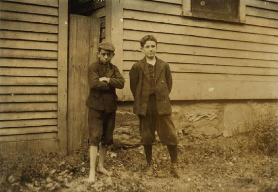 Albert Duquette (left), North Adams, Massachusetts, August 1911. Photo by Lewis Hine.