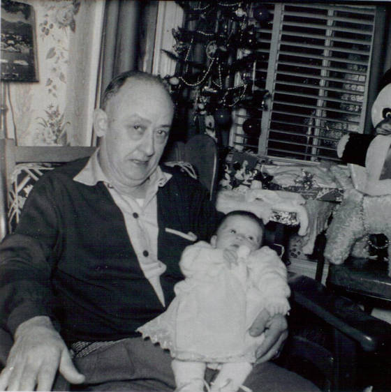 Joseph A. Gauthier with first granddaughter, Deborah (Dorothy's daughter), 1955. Provided by family.