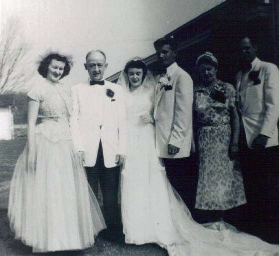 Joseph A. Gauthier at daughter Dorothy's wedding in 1953. Daughter Mary at left. Provided by family.