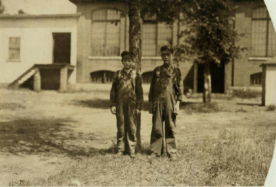 Anatole Grenon (left), 12 yrs old, Winchendon, Massachusetts, September 1911. Photo by Lewis Hine.