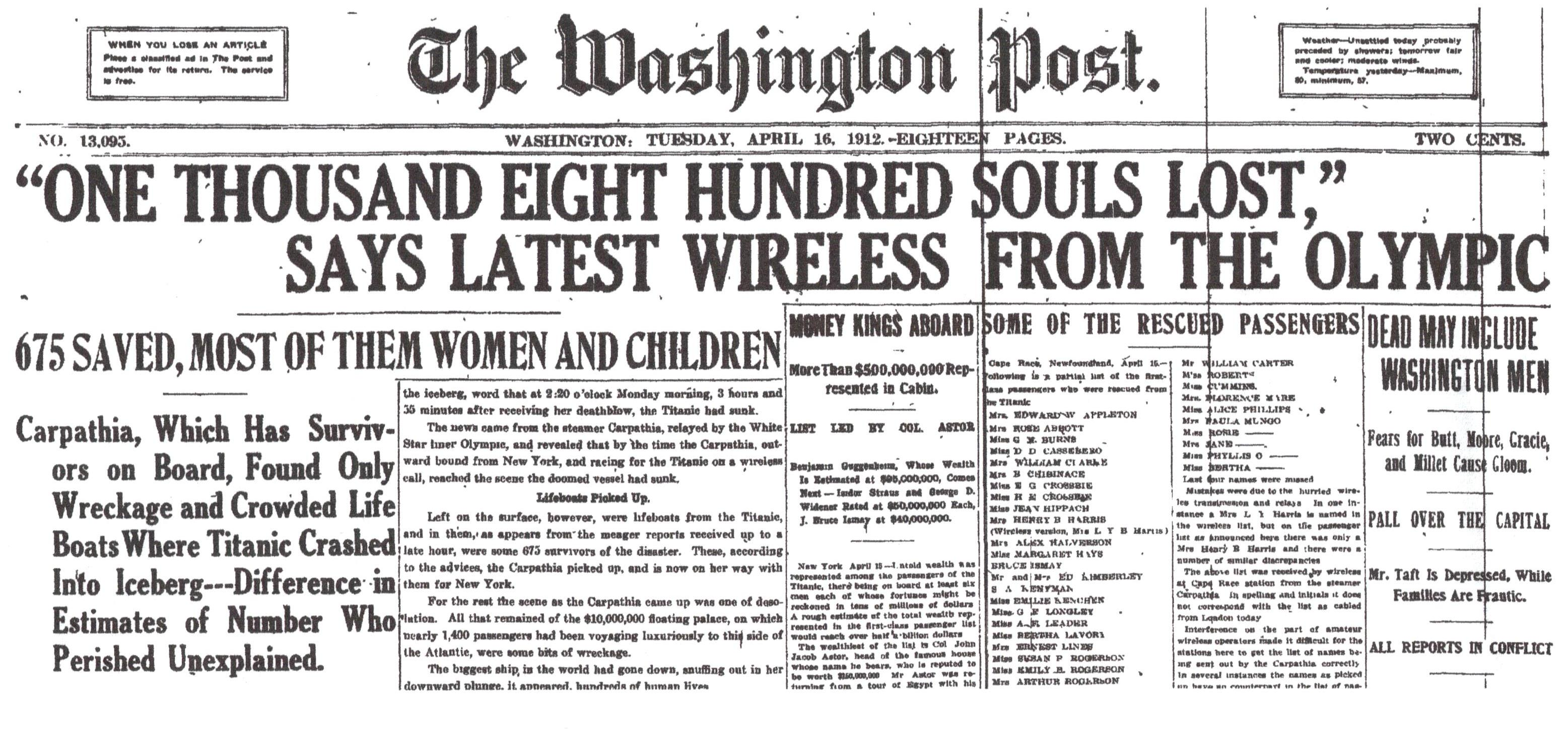 Washington Post, April 16, 1912.