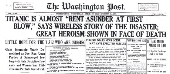 Washington Post, April 17, 1912