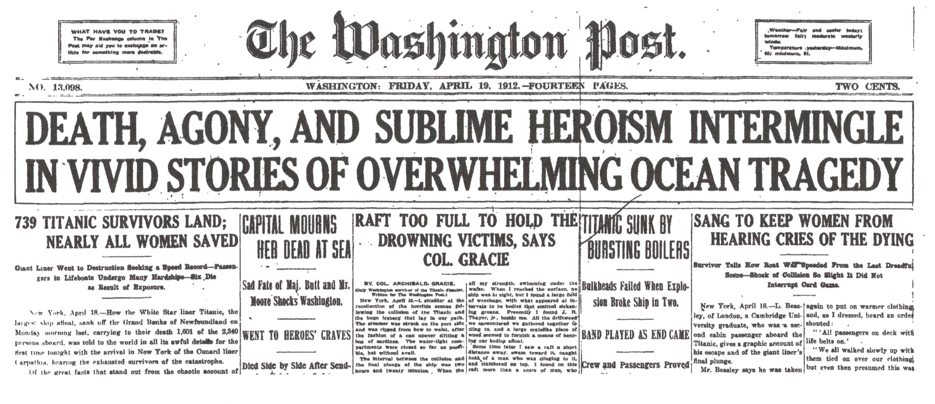 Washington Post, April 19, 1912