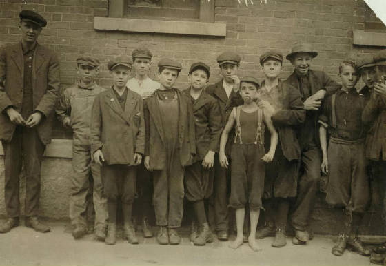 Arthur Chalifoux (4th boy from left), North Adams, Massachusetts, August 1911. Photo by Lewis Hine.