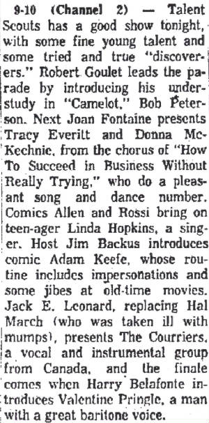 From syndicated TV schedule supplement, August 28, 1962.
