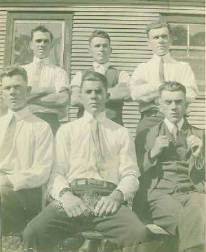 Back: Rene, Euclide, Stanley; front: Ovide, Emile, Albert. Date unk. Photo provided by family.