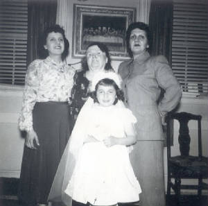 Front row: Barbara Geagan; back row: Mabel Thomas (Ctr), daughters Evelyn (Left) & Ethel, 1951.