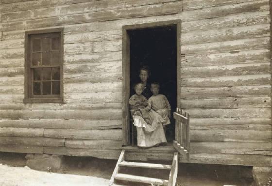Bessie Hicks and children (L to R) Camilla and Joseph, Matoaca, Va, June 1911. Photo by Lewis Hine.