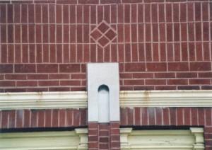 Brick diamond on J.J. Newberry's, North Adams (2001)