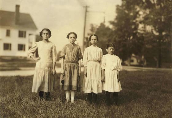 L-R: Eva Caouette, Rosina Goyette, Lumina Desmarais, Mary Deschenes, Winchendon, MA, Sept 1911.