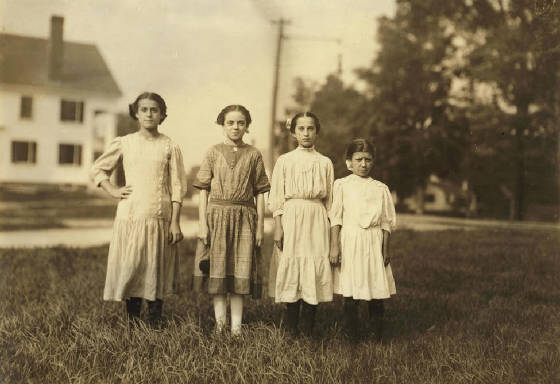 Rosina Goyette (2nd from left), 14 years old, Winchendon, Mass, Sept 3, 1911. Photo by Lewis Hine.