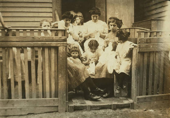 Carmina Caruso (front center), Somerville, Massachusetts, August 1912. Photo by Lewis Hine.