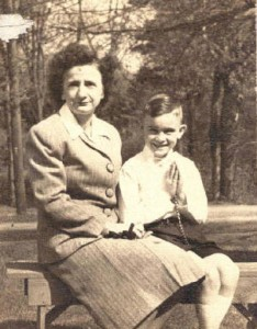 Clarinda Morin LaRochelle and son Lawrence, First Communion, circa 1946. Photo provided by family.