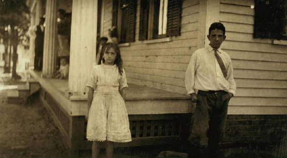 Clarinda Morin, 11 yrs old, and brother Frank, Winchendon, Mass, Sept. 3, 1911. Photo by Lewis Hine.