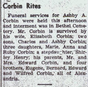 Ashby Corbin Obituary