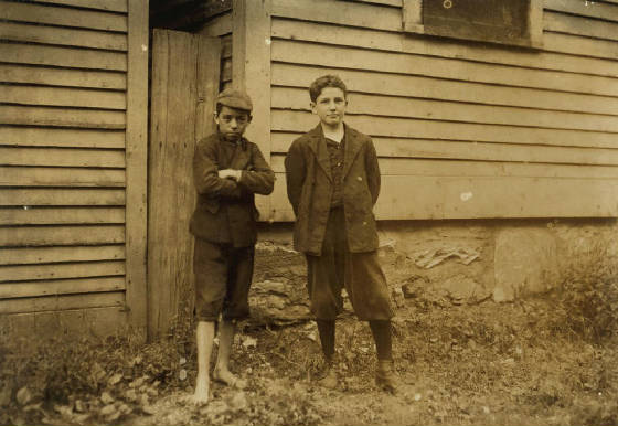 Idas Joseph Crepeau (right), North Adams, Massachusetts, August 1911. Photo by Lewis Hine.