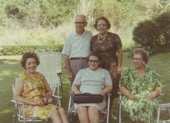 Deschenes family reunion, 1968. (L-R), front row: Marion, Marie, Rose; back row: Henry Maloney and wife Yvonne Deschenes Maloney, sister of Marion and Rose.