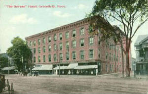 "1912 postcard of Devens Hotel, where Idas Joseph ""Paul"" Crepeau was a barber in the early 1920s."