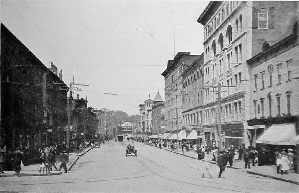 Dowlin Block (2nd building, right foreground), circa 1911, North Adams Historical Society.