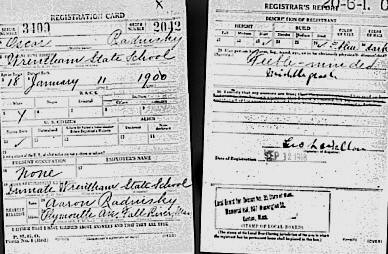 "Oscar Rednisky's World War I draft registration. It says he's ""feeble-minded."""