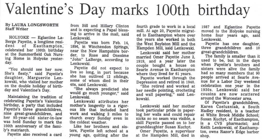 February 15, 1996. Reprinted with permission of the Daily Hampshire Gazette. All rights reserved.