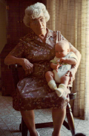 Eglantine Laberge Payette with a great-grandchild, 1982.