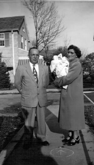 Omer and Eglantine Laberge Payette with granddaughter Karen, 1953.