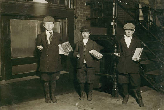 Eli Marks, 8 yrs (middle), Morris Marks, 10 (right) & Harvey Schneider, 11, Wash, DC, April 1912.