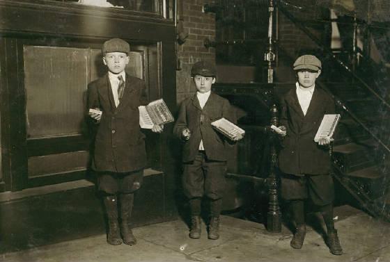 Eli Marks, 8 yrs (middle), Morris Marks, 10 (right) & Harvey Schneider, 11, Wash, DC, April 1912.