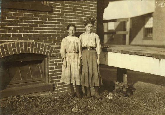 L-R: Lumina (12) & Elizabeth Desmarais (13), Winchendon, Mass., September 1911. Photo by Lewis Hine.