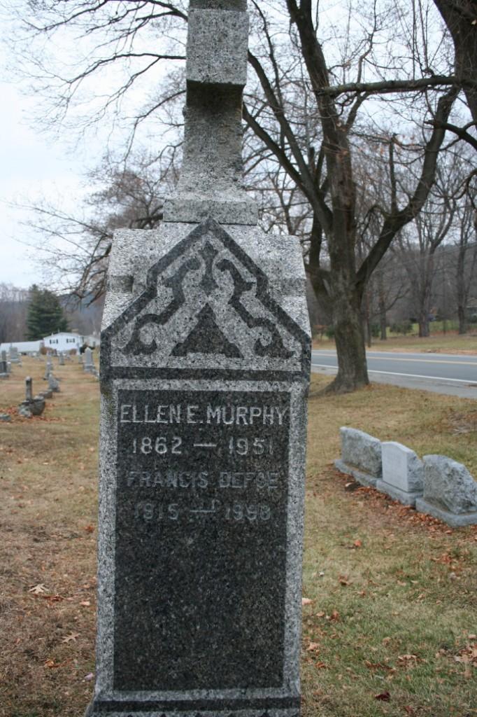 Southview Cemetery, North Adams, MA. Photo by Joe Manning, 2013. *Francis Defoe (on gravestone) was Ellen's niece.