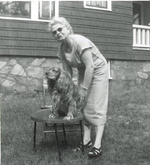 Elsie Shaw with her dog, Smoky, circa 1954.