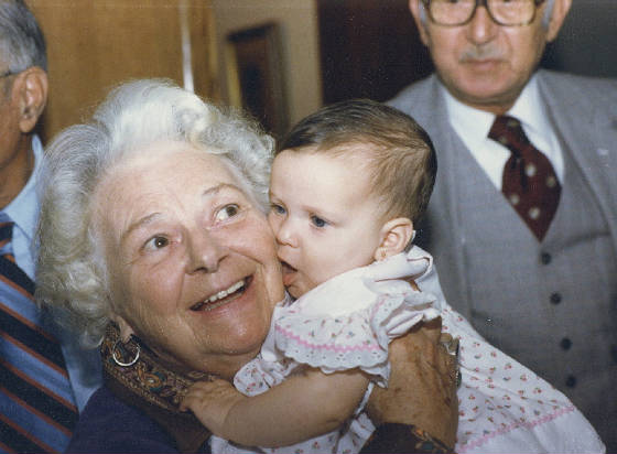 Elsie Shaw and great-granddaughter Shayne (Pamela's daughter), 1980.