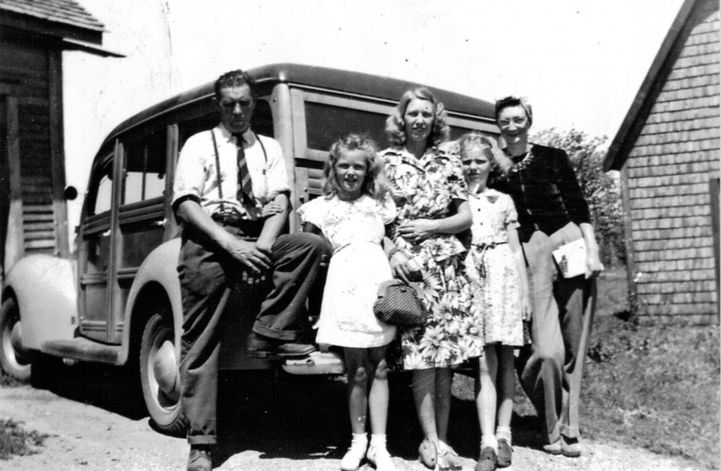 (L-R): George Goodeill, Carlene & wife Edna, cousin & friend, circa 1940. Provided by family.