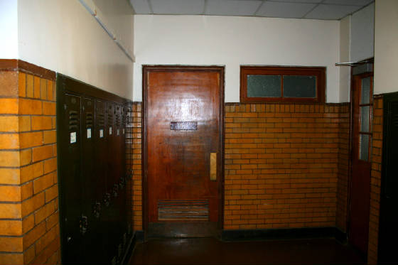 Entrance to girls' bathroom, Park Street School, Springfield, Vermont, 2008
