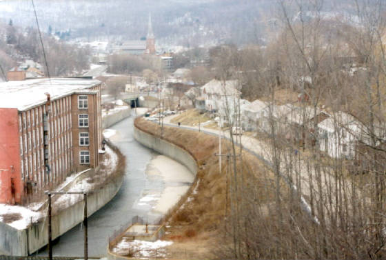 Former Hoosac Cotton Mill from above dam, North Adams (2002)