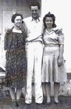 (L to R) Glen's wife Ida Mae, his nephew Robert, and sister Eathel, date unknown