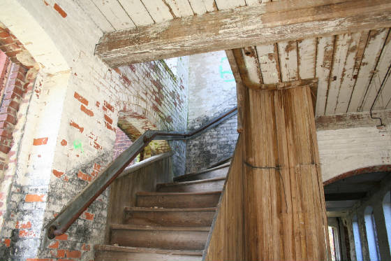 Stairs that Hine would have climbed to photograph Anna Dugas. Photo taken in 2009.