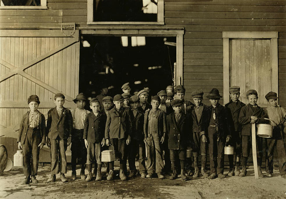 Joe Beafore (front, 6th from right), Fairmont, WV, Oct 1908. Photo by Lewis Hine.