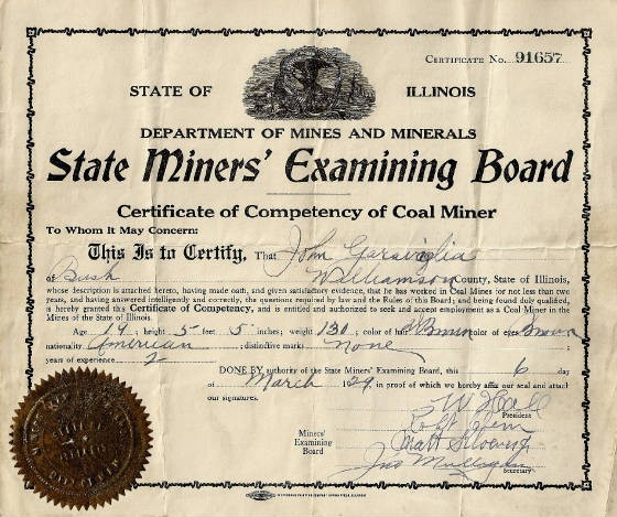 John Garavaglia's certificate as coal miner, at age 19. Provided by family.