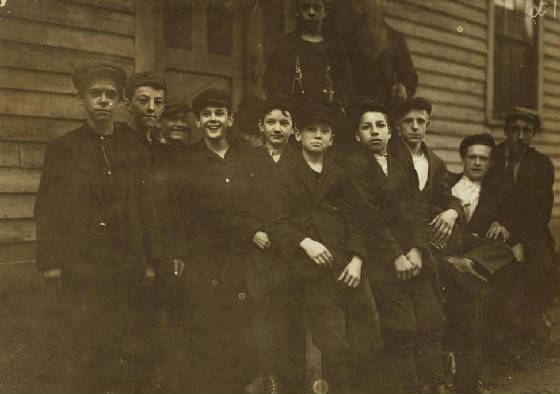 Joseph Allard (2nd from right), 19 yrs old, North Adams, Mass, August 1911. Photo by Lewis Hine.