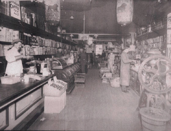 Boston Branch Grocery (Flavel Beal, front left, son Ernest, front right) 1902. Prov. by Polly Davis
