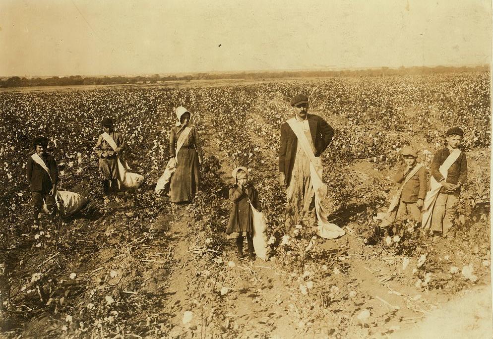 """Kirkpatrick family, Lawton, Oklahoma. (L-R): Edward, Vonnie, Ida, Naomi """"Dovey,"""" Lige, Ertle, and Otis."""