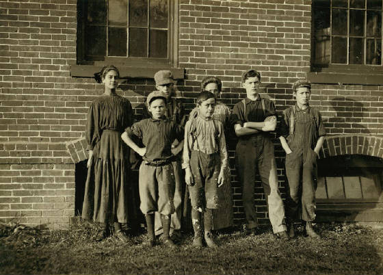 Alcide Gauthier (front row, right), 13 yrs old, Winchendon, Mass., Sept 1911. Photo by Lewis Hine.