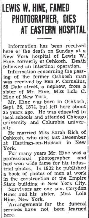Published Nov 4, 1940, in the Oshkosh Northwestern, his hometown newspaper. Found on Ancestry.com.