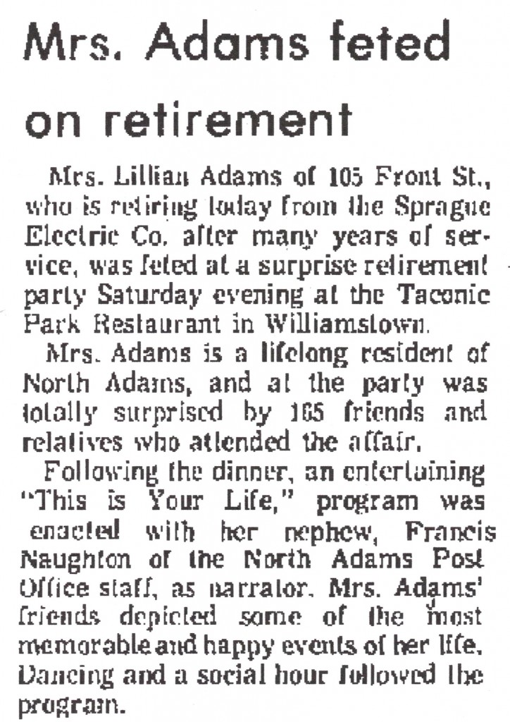From the North Adams Transcript, January 29, 1971.