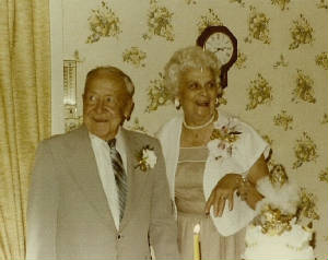 Joe and Lillian Adams at her retirement party, 1971. Provided by family.