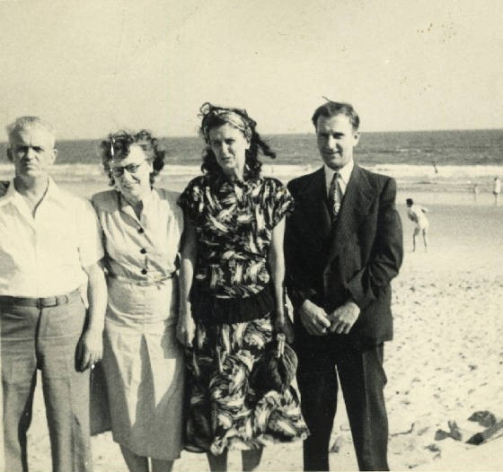 (L-R): Peter Durette, Isabella Roy Durette, sister Jeanette, unknown man. Date unk. Prov. by family.
